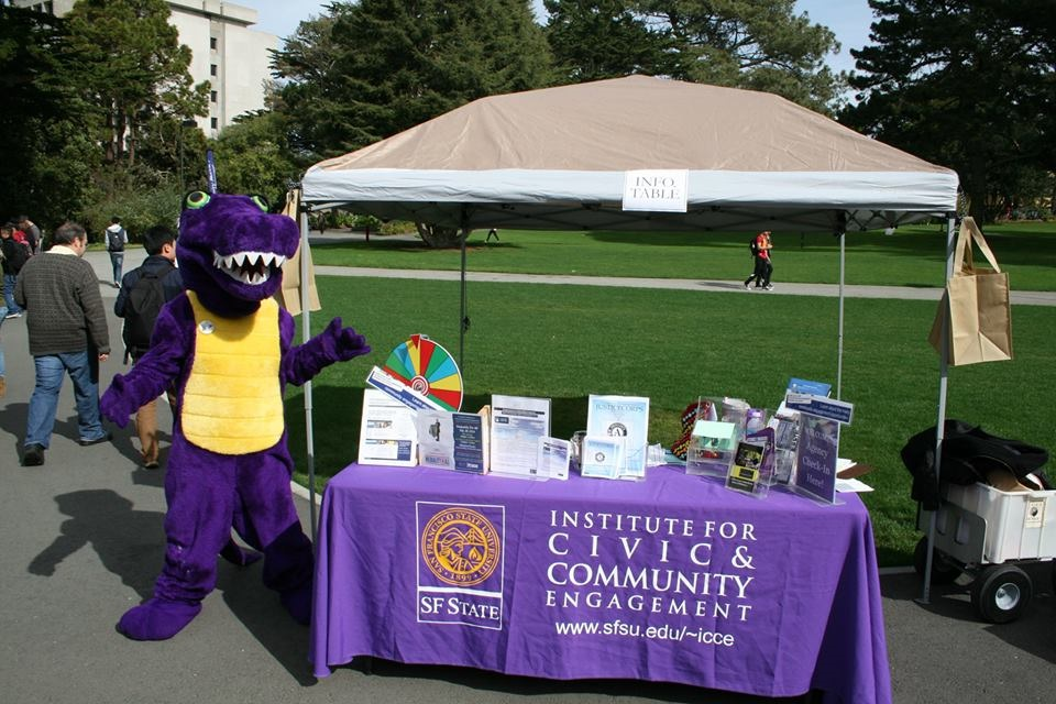 SF State Gator Mascot at ICCE info table