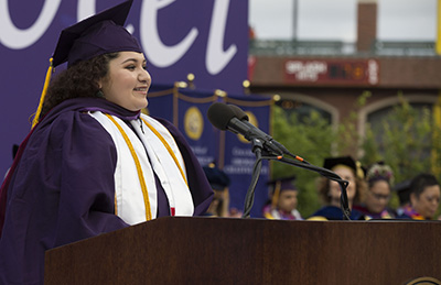Arianna Vargas speaks at 2018 SF State Commencement