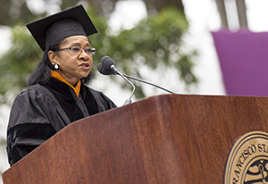 Belva Davis speaks at 2014 SF State Commencement