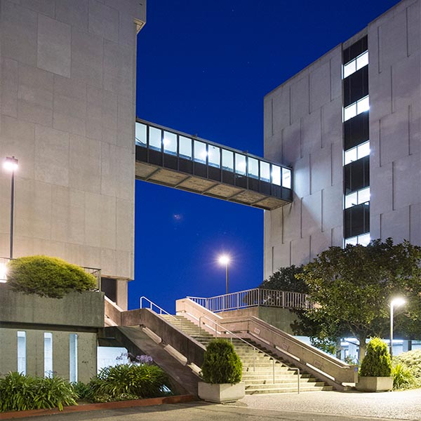 Hensill Hall on San Francisco State University Campus at night
