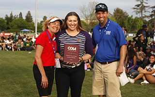 Kendra Reimer wins CCAA coach of the year with trophy