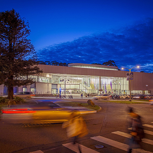 SFSU new wellness center at night