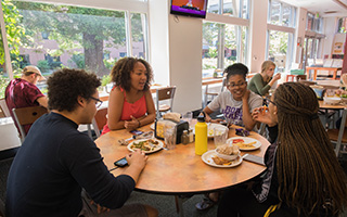 Students eating at San Francisco State University