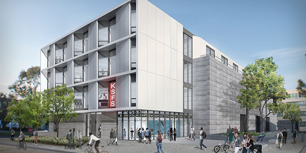 Architect rendering of new LCA building corner view
