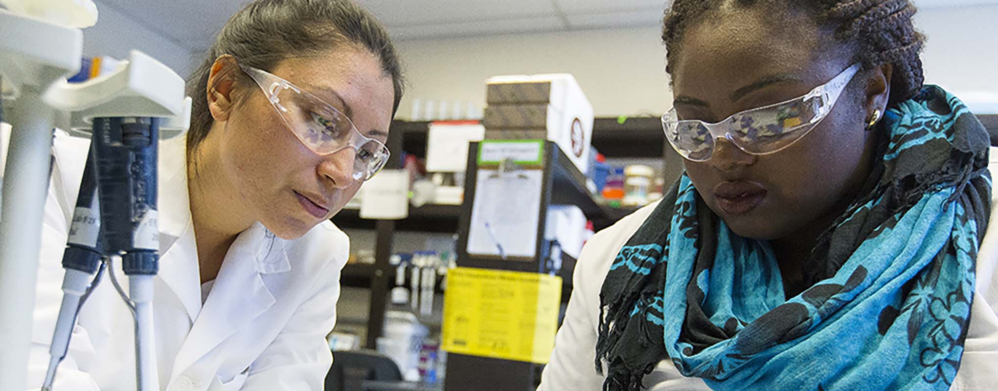 Diverse women working in lab