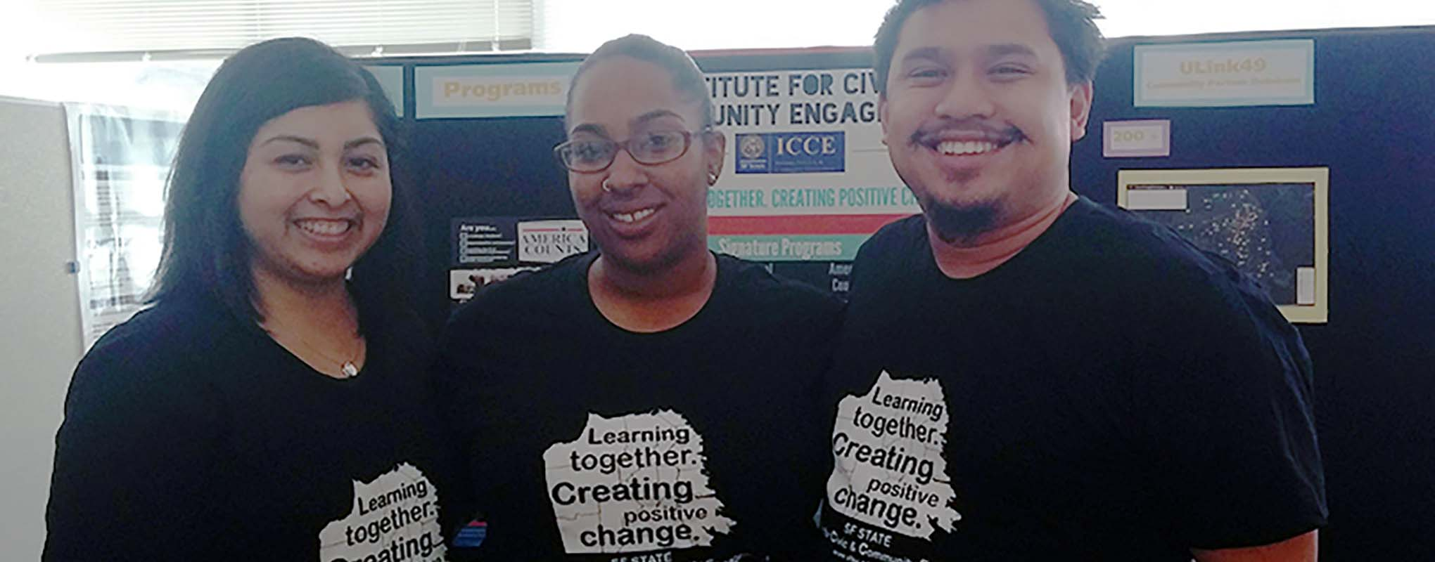 ICCE students wearing matching t-shirts.