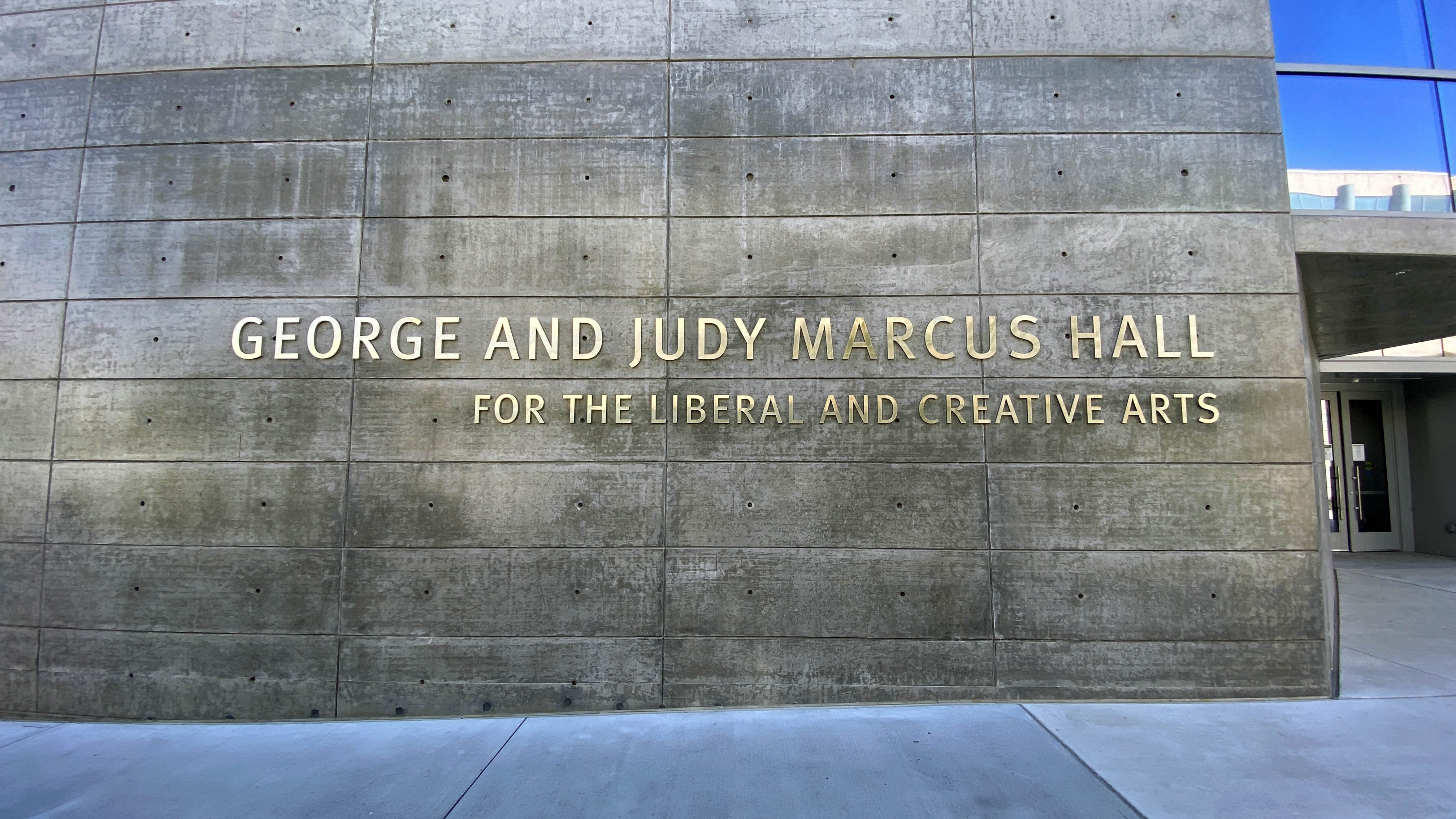 Marcus Hall exterior with building name imprinted on the front