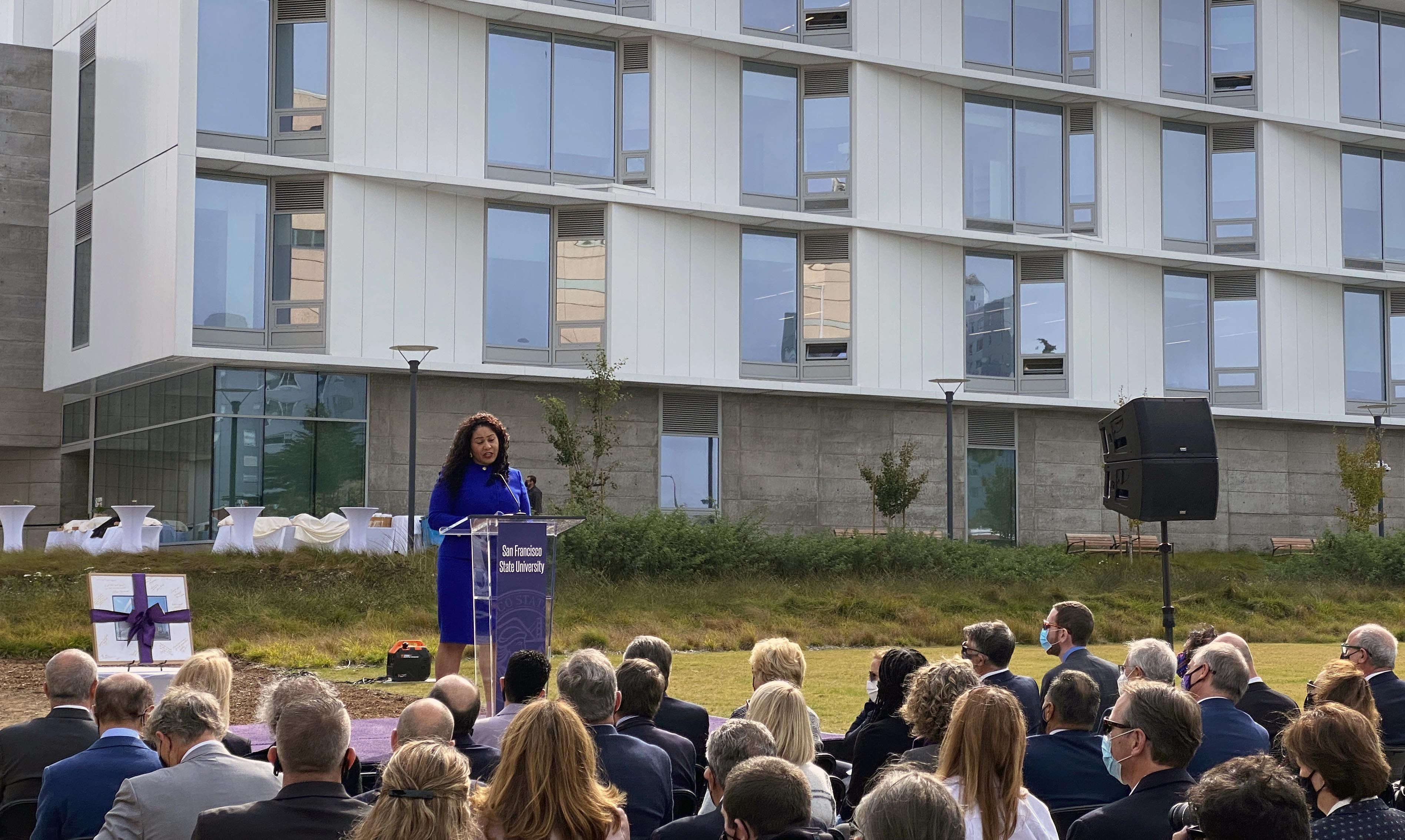 San Francisco Mayor London Breed speaks at the opening of Marcus Hall