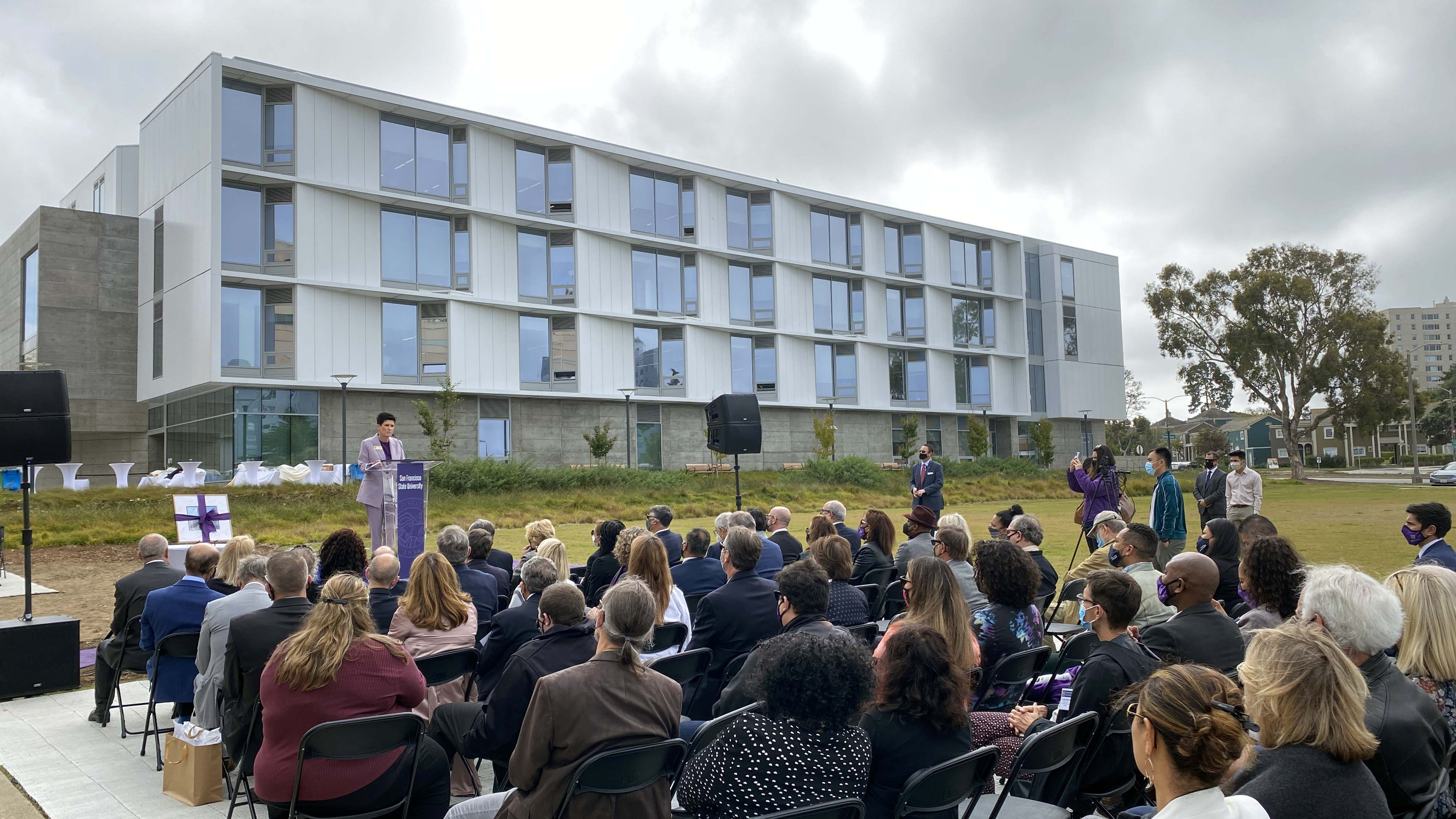 Lynn Mahoney, Ph.D., president of San Francisco State University, speaks at the opening of Marcus Hall