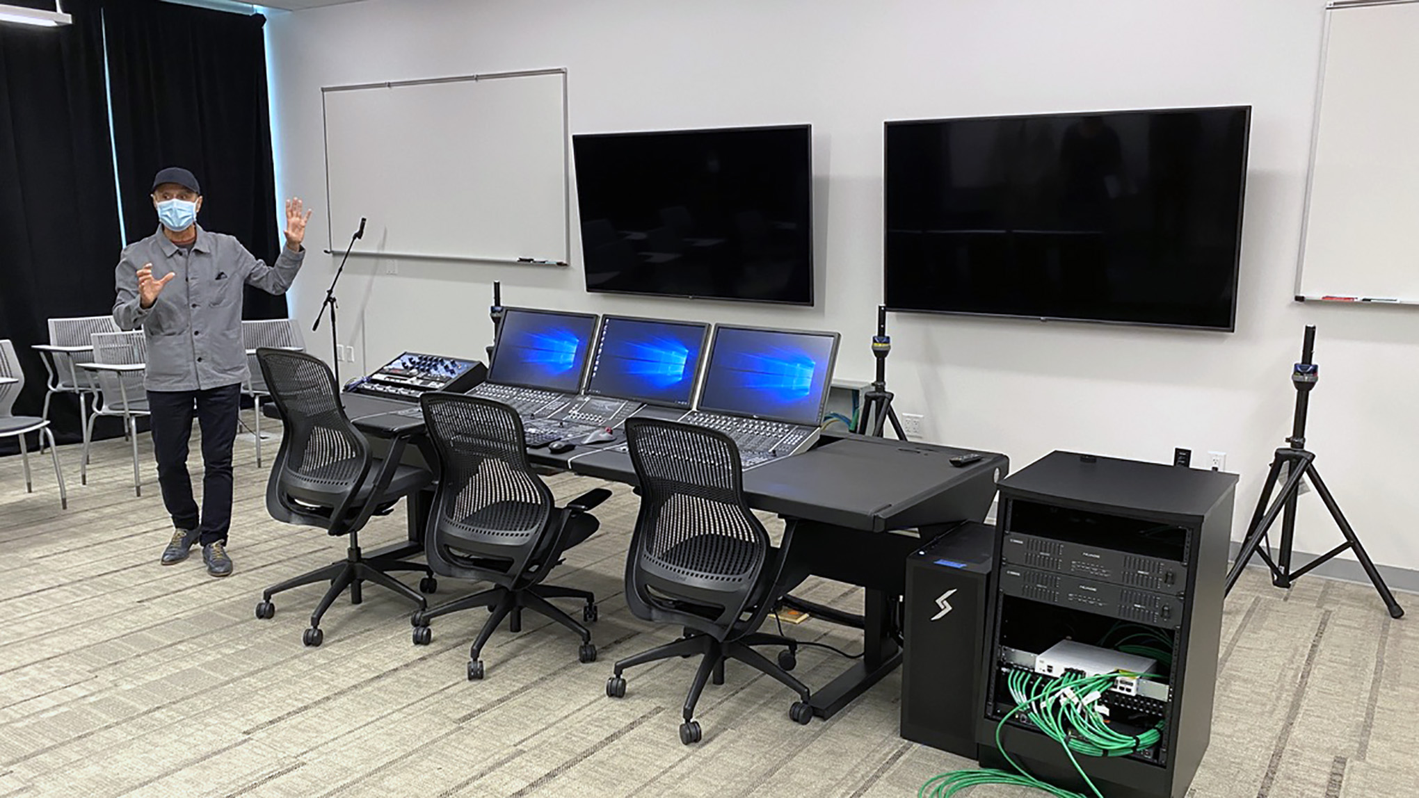 Audio control room in Marcus Hall at San Francisco State University