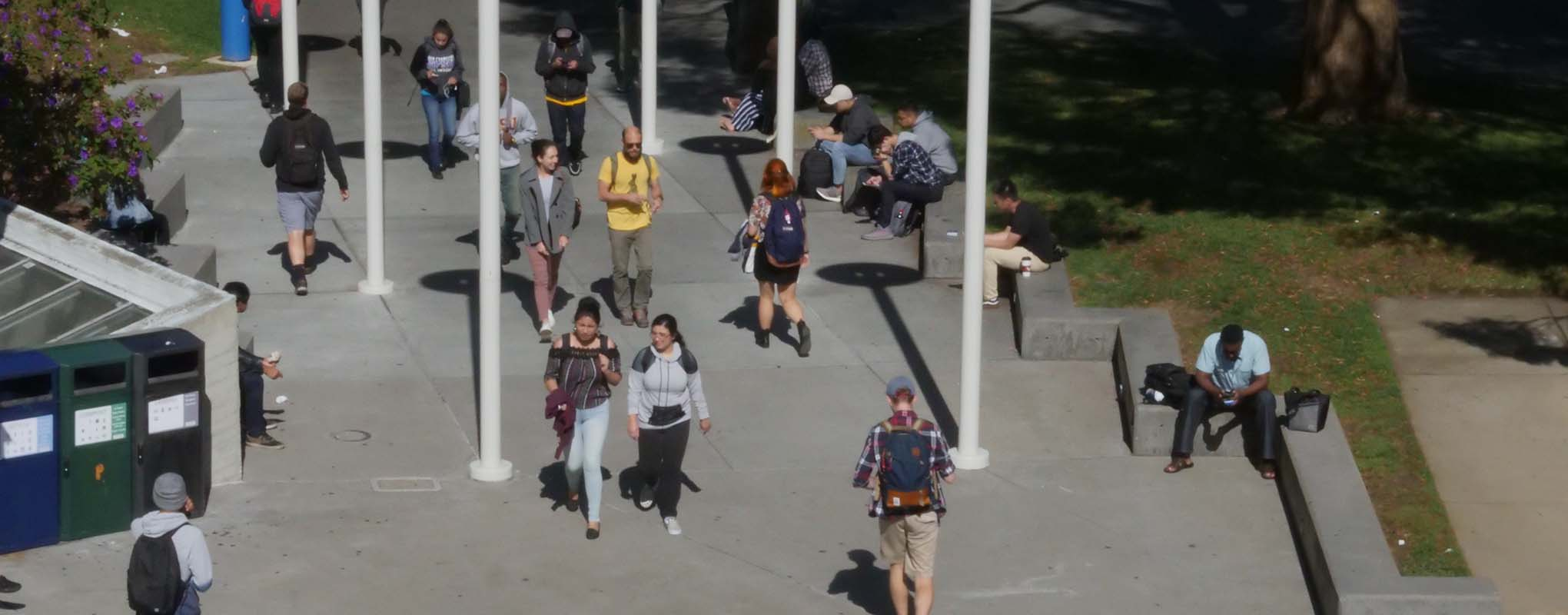Students crossing SF State campus