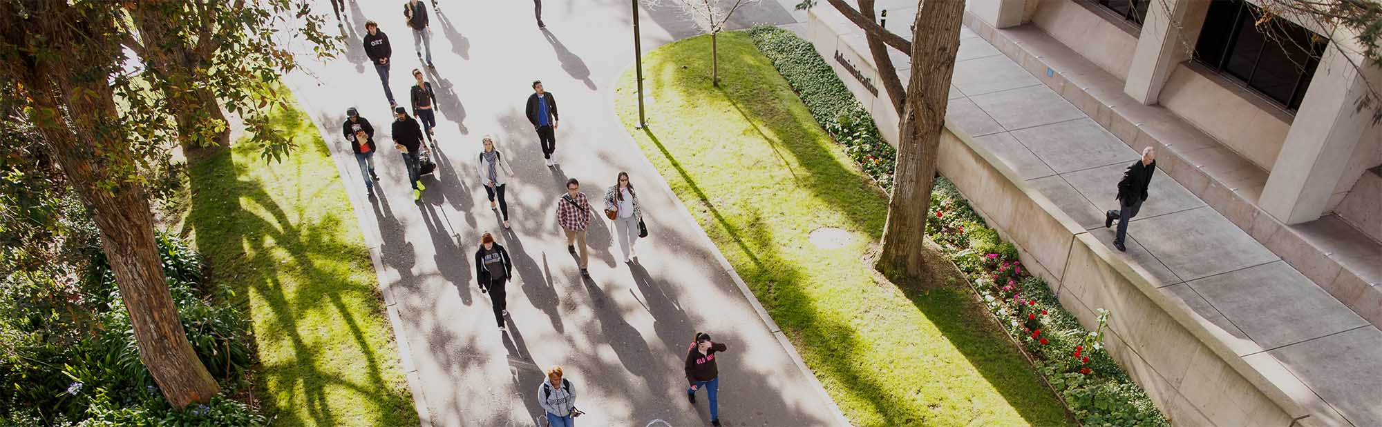 Students walking onto San Francisco State University campus