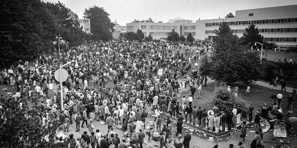 Student Strikers crowd on SFSU's quad in the 60's