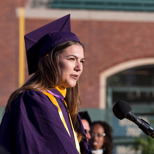 SF State Talia Hart giving Speech at 2017 Commencement