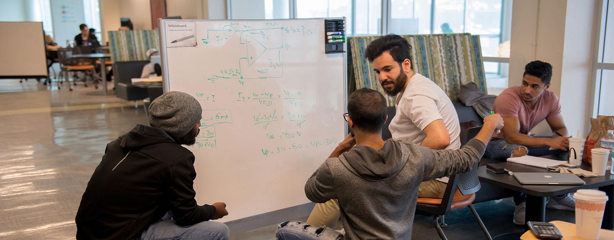 Students sitting around studying