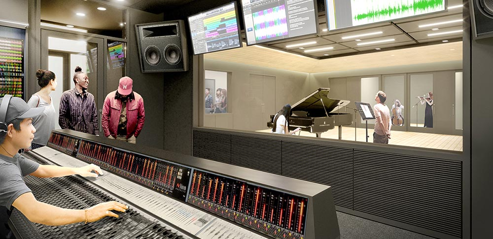Audio recording control room and studio